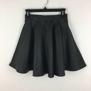 Topshop Faux Leather Skater Swing Skirt Black US 4